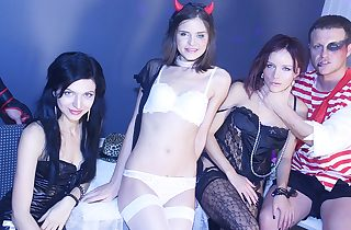 Beautiful skinny breezies crammed during gang sex soiree
