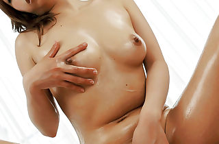 Saki Asaoka oils up her body and is..